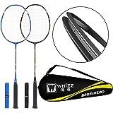 WHIZZ - PLS ADD The Birdies to CART - Heavy Duty Graphite Carbon Badminton Racket Set of 2 with 6 Nylon Birdies (Extra)