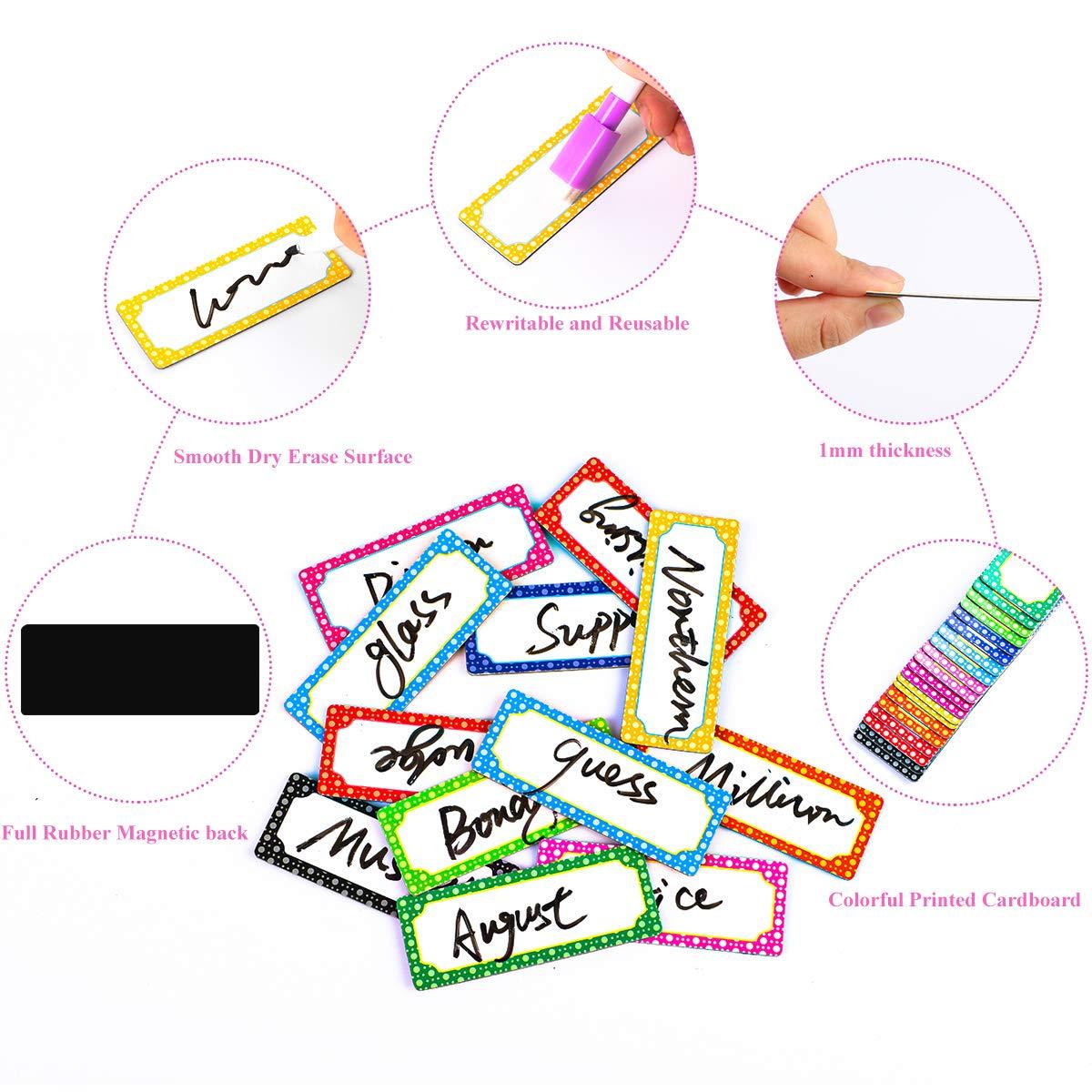 50 Pezzi Magnetic Dry Cancella etichette Targhette Tag Etichette Nome Targhetta Etichette a secco con Cancellino e Pennarello per Casa Scuola Ufficio