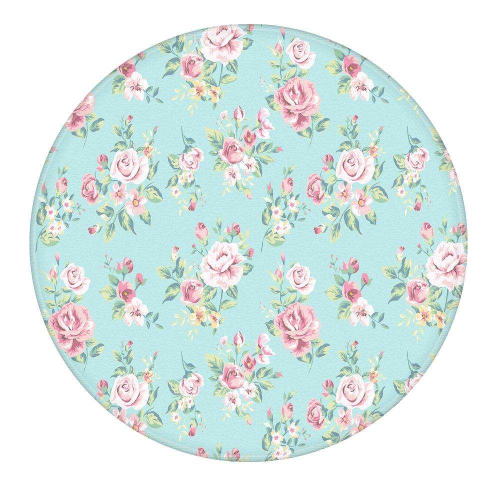 Flowers 2-Feet Round Bathroom Rug, Uphome Flannel Microfiber Non-slip Soft Absorbent Kitchen Floor Bath Mat Carpet