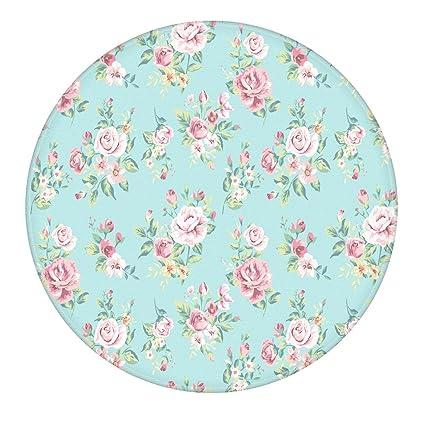 Uphome Flowers 2 Feet Round Bathroom Rug, Flannel Microfiber Non Slip Soft  Absorbent