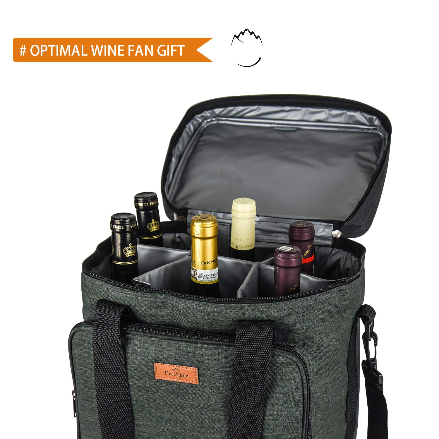 Freshore Insulated Wine Carrier 6 bottle Bag Tote Removable Padded Divider - Portable Travel Padded Cooler Carrying Canvas Case Adjustable Shoulder Strap - (Dark Green) by Freshore (Image #3)
