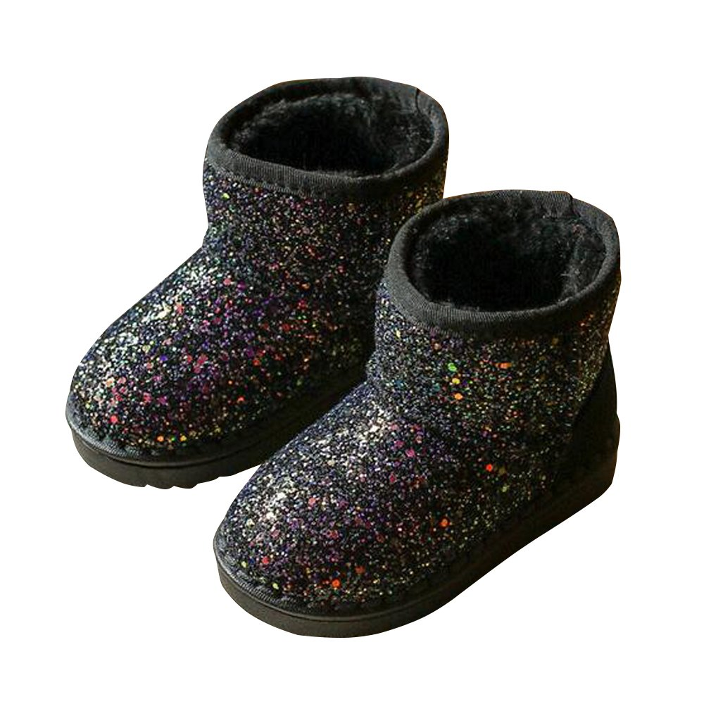 BININBOX Girls Bling Sequins Snow Boots Warm Cotton Shoes Winter Boots (11 M US Little Kid, Black)