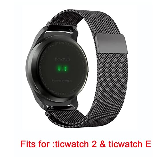 For Ticwatch 2 Band, Lamshaw Milanese Magnetic Loop Stainless Steel Watch Strap for Ticwatch 2 / Ticwatch E Super Lightweight Smartwatch Band