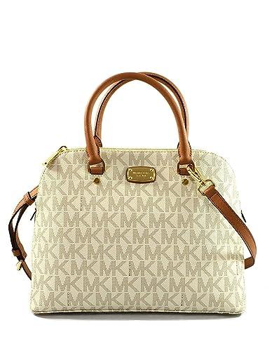 149f04f7b863a1 Michael Kors Cindy Large Dome Satchel - Vanilla/Acorn: Handbags: Amazon.com