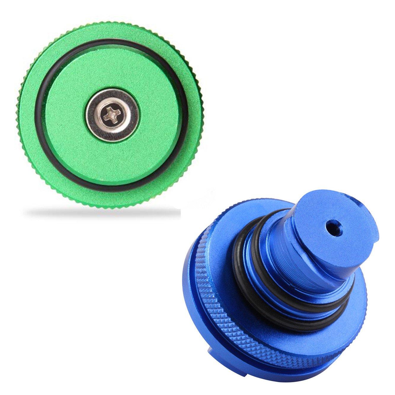 2013-2017 Auto Parts Billet Aluminum Green Fuel Cap Magnetic and Blue DEF Cap for Dodge Ram Cummins