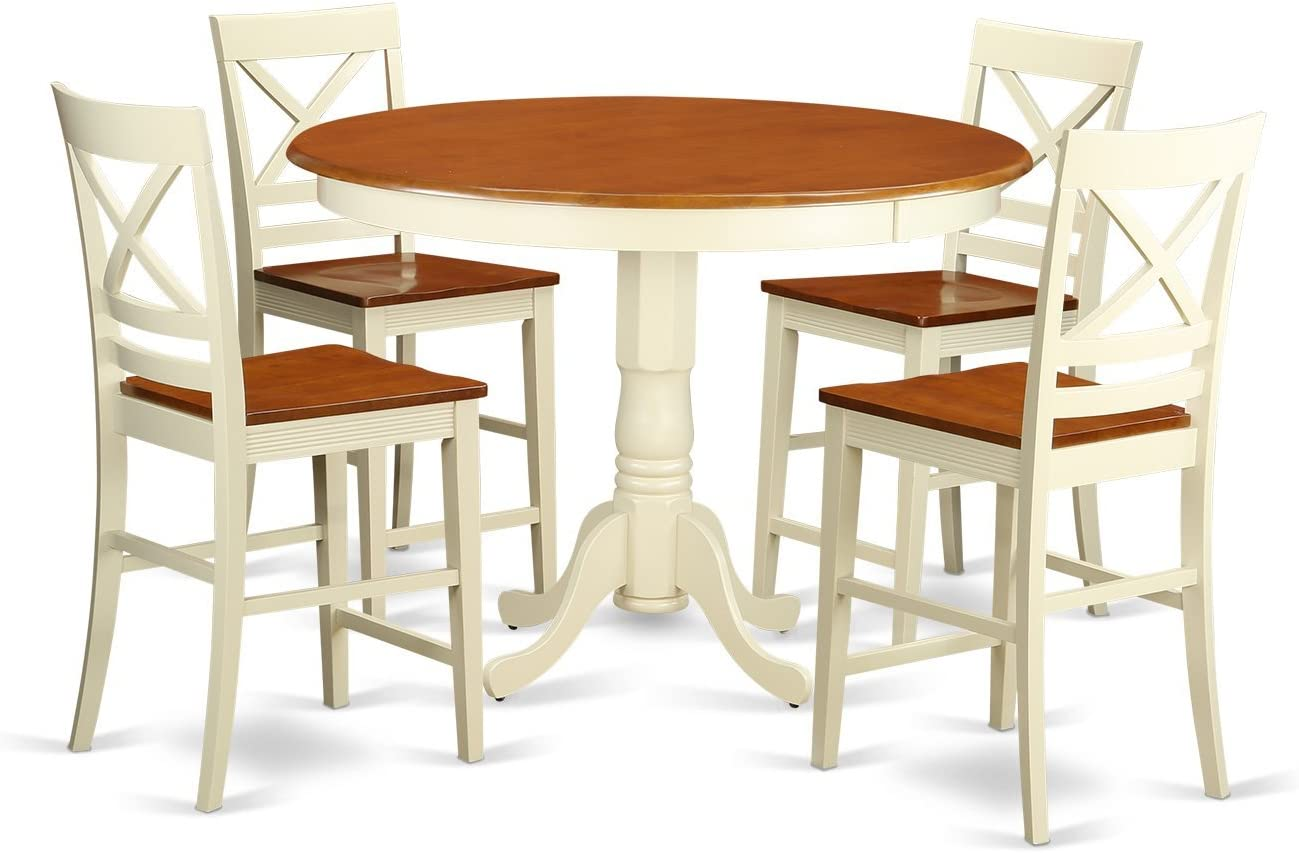 TRQU5-WHI-W 5 PC Dining counter height set-pub Table and 4 Kitchen bar stool