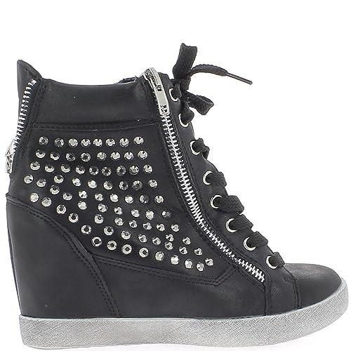 ChaussMoi Negro Zapatillas Cuña de Levantamiento con Diamantes de Imitación Para Tacón DE 7,5 cm - 41: Amazon.es: Zapatos y complementos