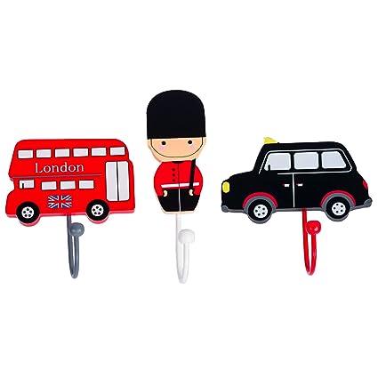 Tinkie Toys - Perchero de madera hecho a mano con diseño de autobús de Londres
