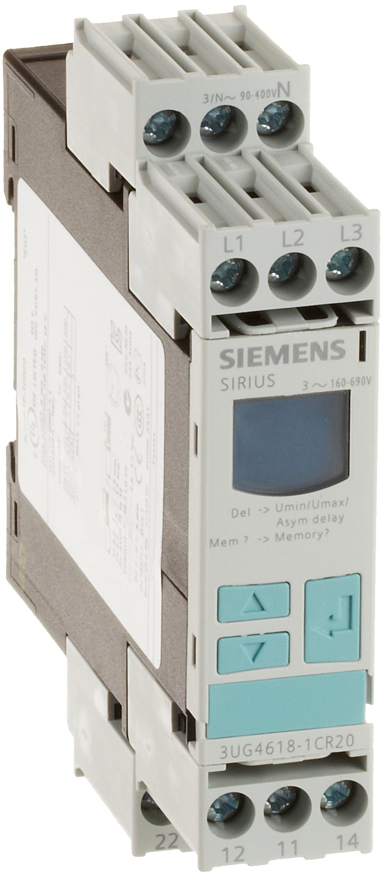 Siemens 3UG4618-1CR20 Monitoring Relay, Three Phase Voltage, Insulation Monitoring, 22.5mm Width, Screw Terminal, 1 CO For Line Faults and 1 W For Phase Sequence Contacts, Off Delay 0-20s Delay Time, 160-690 (90-400 w.r.t. N) Line Supply Voltage