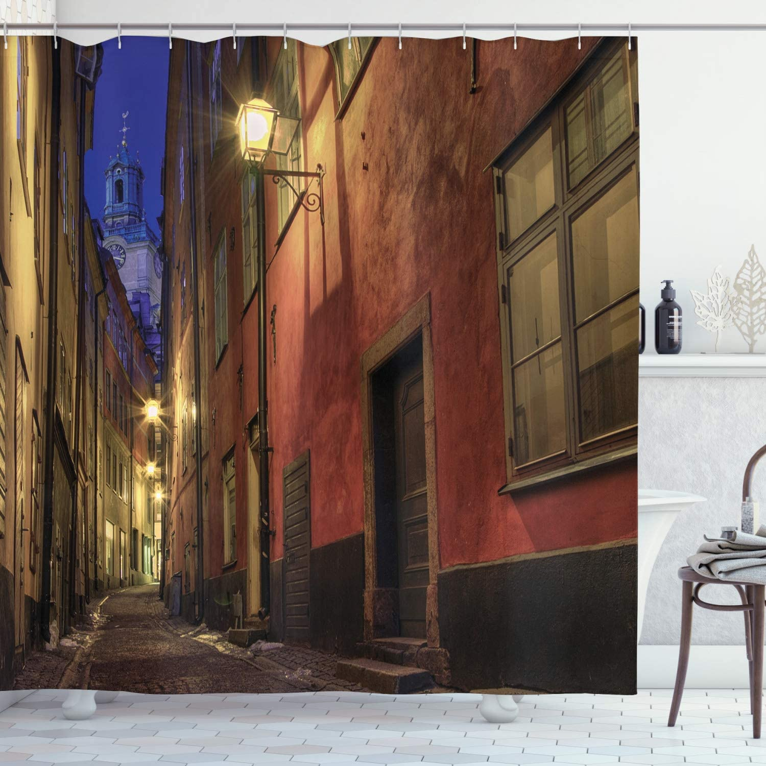 Ambesonne Wanderlust Decor Collection, At Night in the Alley in Old Town Stockholm Tower Image Pattern, Polyester Fabric Bathroom Shower Curtain Set with Hooks, Navy