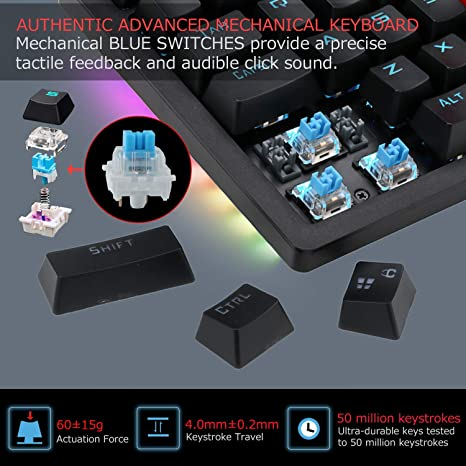 XUNHANG Mechanical Gaming Keyboard Waterproof Blue Switch 104 Double Injection Keys Black and White Color : White