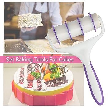 Fondant Streifen Band Cutter Werkzeug Kuchen Nudelholz Embosser Roller Set Neu