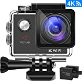 Victure Action Cam 4K WIFI Ultra HD 16MP Sport Camera Impermeabile Videocamera con Timelapse, Slow Motion 170° Grandangolare 2.0 Pollici due 1050mAh Batterie e Kit Accessori (grigio)