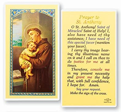 St Saint Anthony marriage saint Laminated Prayer Card Blessed By Pope  Francis
