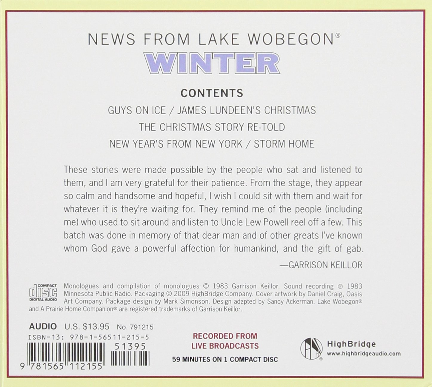 Winter: Stories from the Collection News from Lake Wobegon: Garrison  Keillor: 0025024554599: Amazon.com: Books