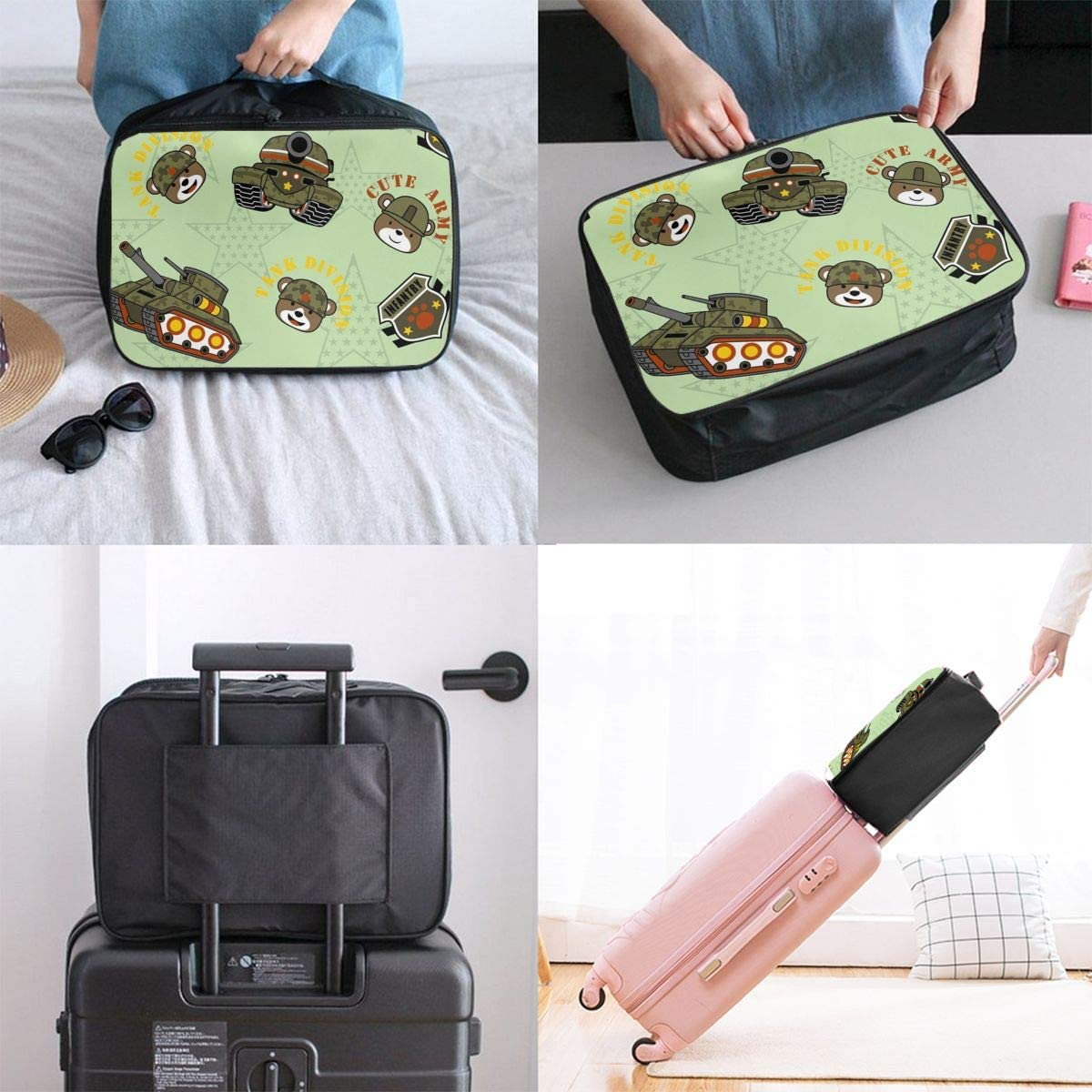 Military Equipment Funny Soldiers Head Lightweight LargeTravel Storage Luggage Trolley Bag Travel Duffel Bags Carry-On Tote
