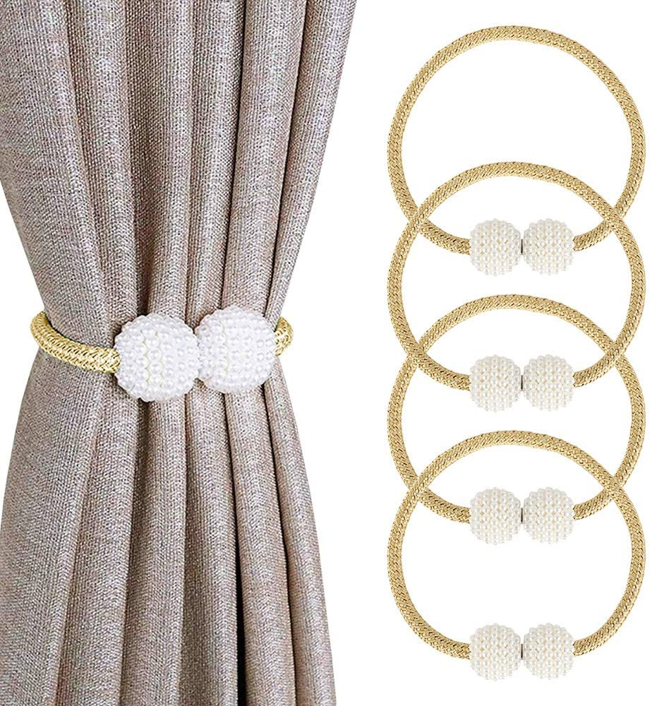 """JTWEB Magnetic Curtain Tiebacks 4 Pieces 19"""" Pearl Decorative Rope Holdback Holder Curtain Drapes Clips Rope Holdbacks for Home, Office, Hotel Window Decoration (Beige, 4PCS) Beige 4PCS"""