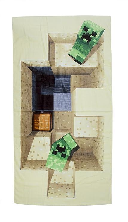 Minecraft derrota Diseño Toalla, Algodón, Beige, 140 x 70 x 2 cm
