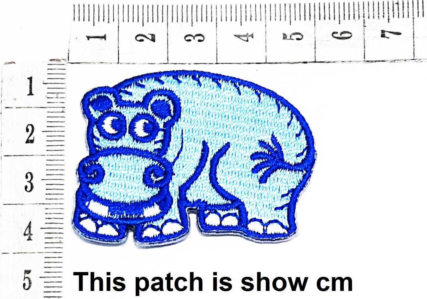 Baby Blue Hippo Animal Funny Cartoon Chidren Kids Embroidren Iron Patch/Logo Sew On Patch Clothes Bag T-Shirt Jeans Biker Badge Applique Devil Artwork