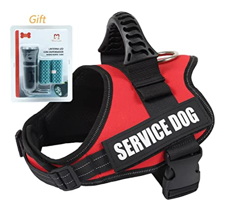 Dog Harness Vest Medium - Heavy-duty Adjustable Padded, with Reflective Straps, Red