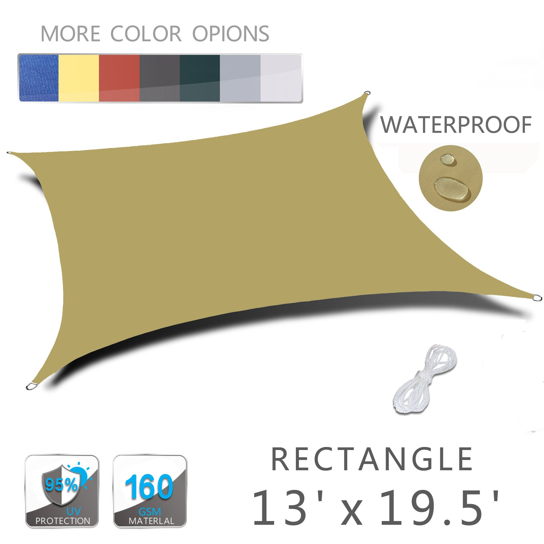 Love Story 13' x 19.5' Rectangle Sand Waterproof Sun Shade Sail Perfect for Outdoor Patio Garden