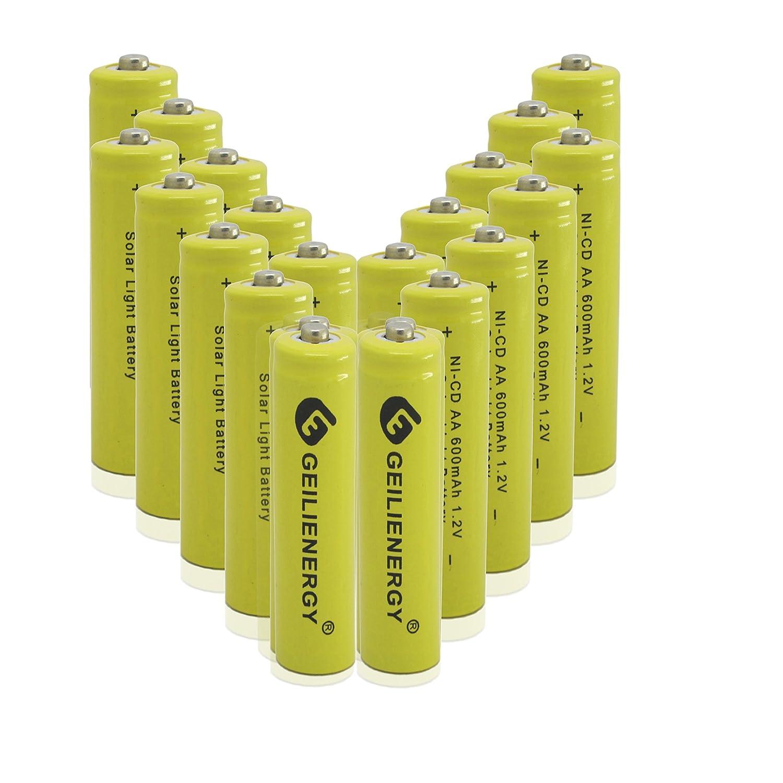 GEILIENERGY AA Rechargeable NiCd Batteries, NICD AA 600mAh 1.2V Rechargeable Batteries for Solar Light,Solar Lamp,Garden Lights(Pack of 20)