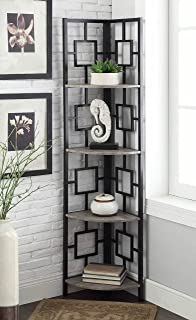 Weathered Grey Oak Finish Black Metal Wall Corner 4 Tier Bookshelf Bookcase