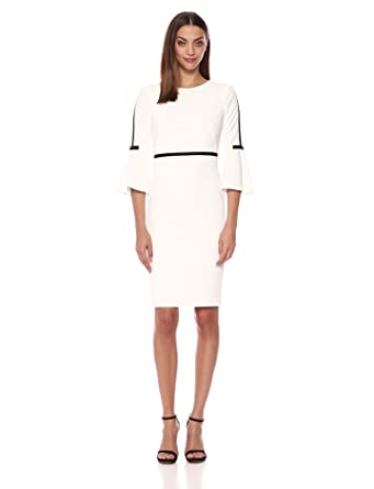 a550be9e Calvin Klein Women's Bell Sleeve Sheath with Contrast Piping, White/Black,  ...
