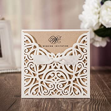 Wishmade Cartes D Invitation De Mariage 50x Blanc La Conception De Coupe Au Laser Invite A La Carte Pour Mariage Fete D Anniversaire Graduation
