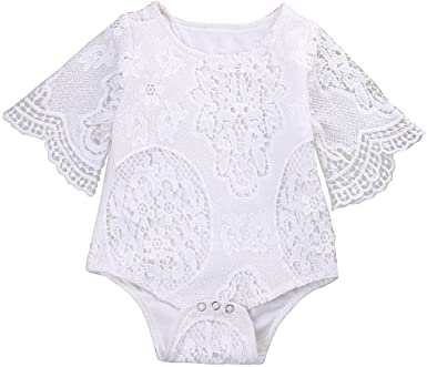 Summer Newborn Infant Baby Girls Solid Flared sleeves Lace Hollow Romper Clothes