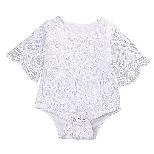 940ef441cb99 SUNMUY Kids Baby Clothes Newborn Girl Floral Romper Toddler Bodysuit  Jumpsuit White (60)