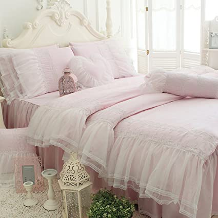 TideTex 3pc European Rural Style Bedding Sets 100%Pure Cotton Bed Skirt  Lace Flouncing Duvet