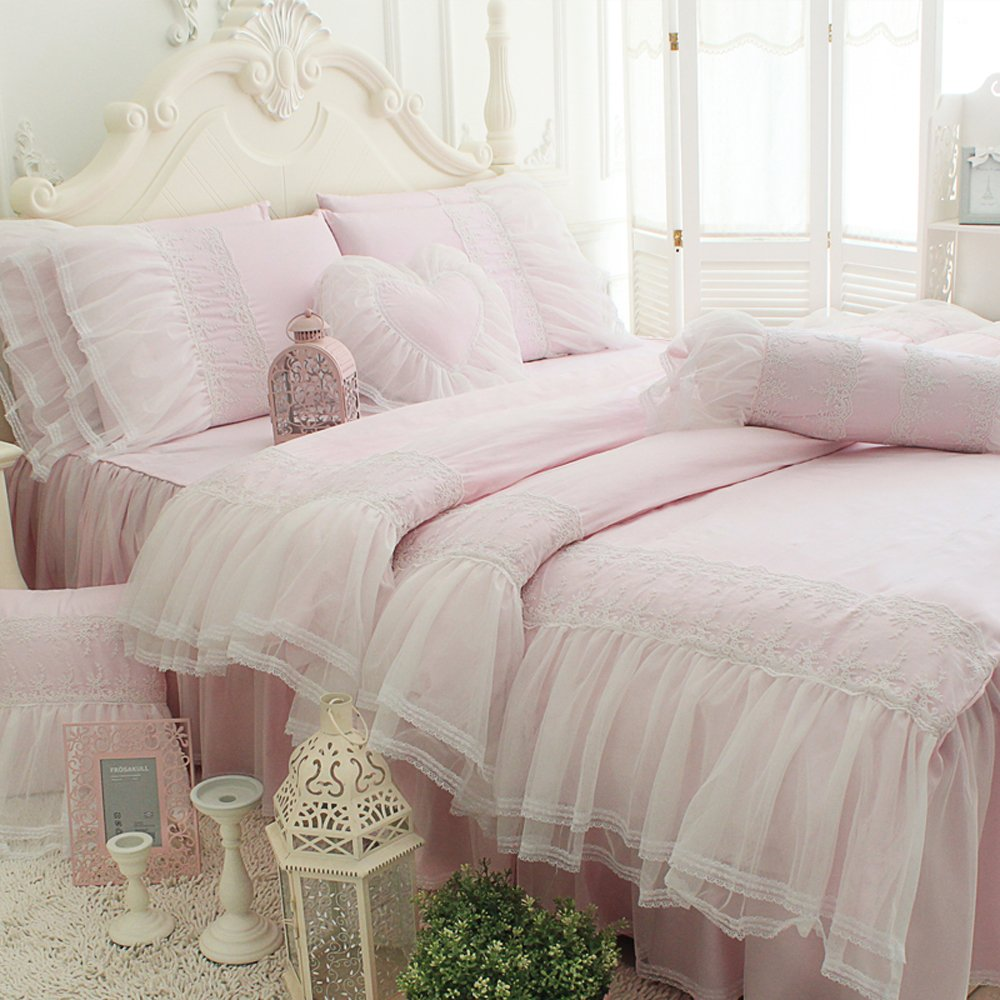 TideTex 4pc Romantic Light Pink Princess Bedding Sets European Rural Bedding Sets 100%Pure Cotton Bed Skirt Lace Flouncing Duvet Cover Set Girls Fairy Bedding Sets (Full, Light pink)