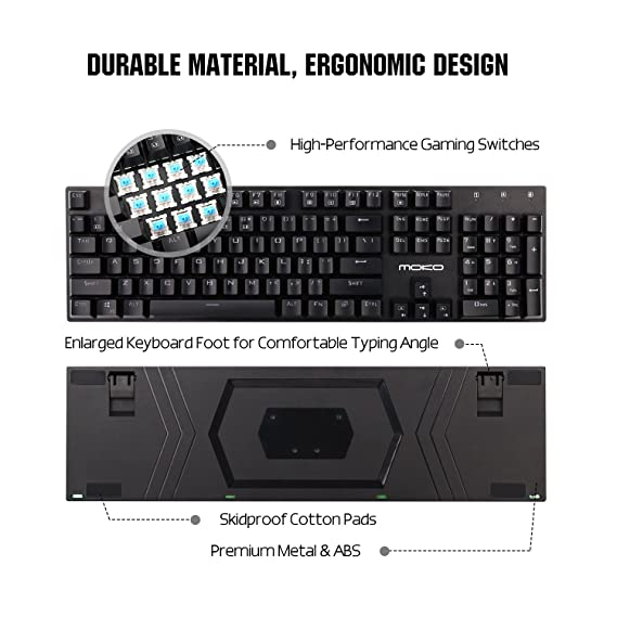 Amazon.com: MoKo Mechanical Gaming Keyboard with Blue Switches, 9 Colors Preset LED Backlit Keyboard with 104 Keys, USB Wired Keyboard with Anti-ghosting ...