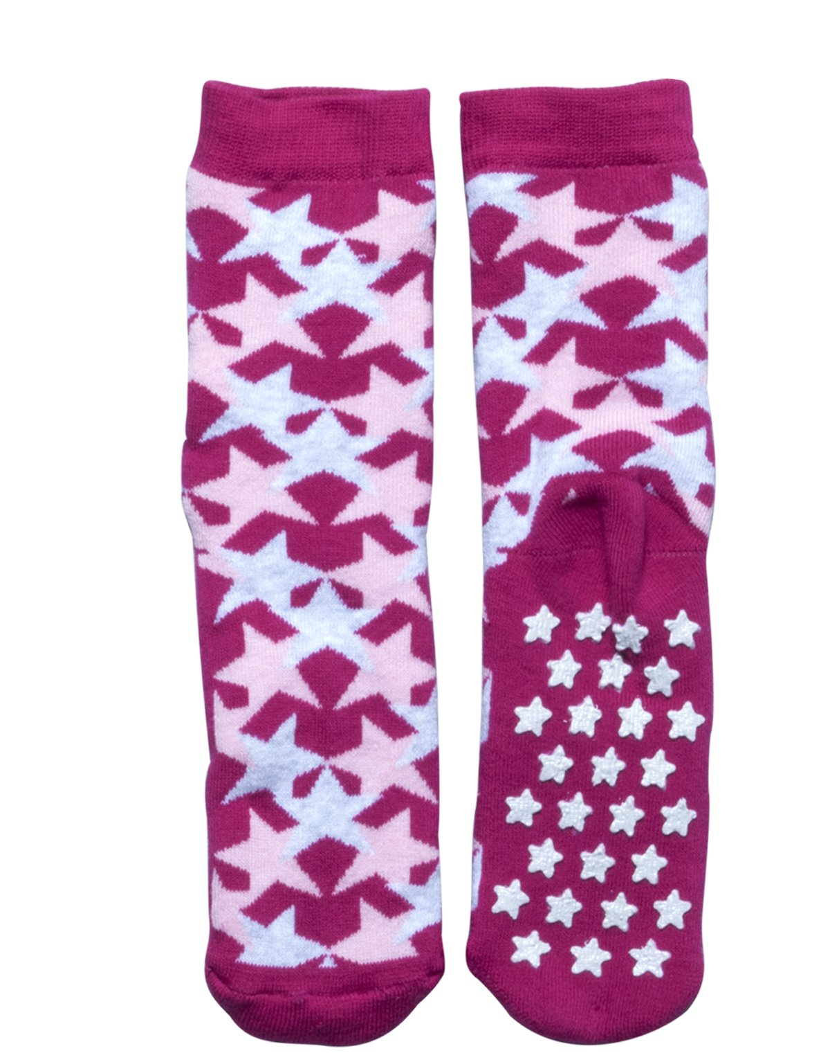 SLIPPER NON SKID SOCKS | KIDS ANTI SLIP COTTON SOCKS WITH STARS | ITALIAN HOSIERY | (USA: 7/11 = EU: 24/28, FUXIA)