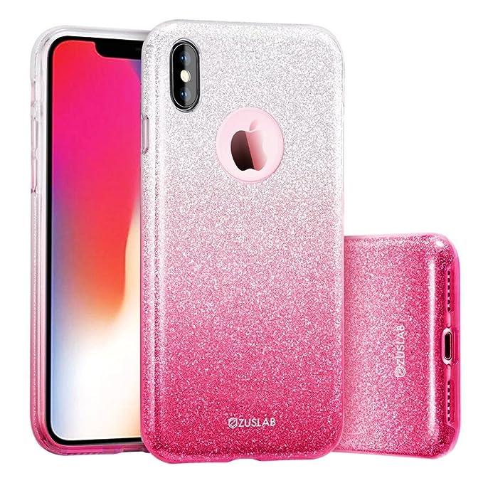 5 opinioni per ZUSLAB iPhone XS Cover/iPhone X Custodia con Glitterato Luccichio Glitter Bling