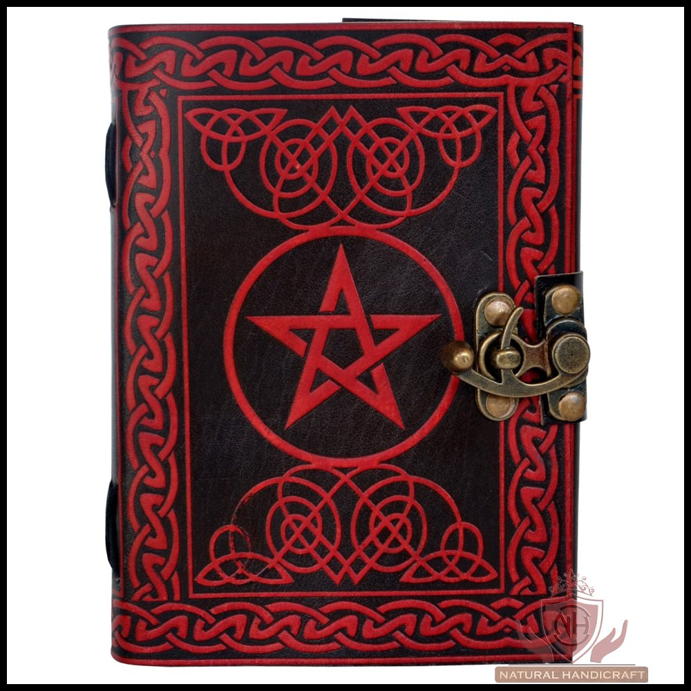 Leather Journal Notebook Pentagram Wicca Pagan Pentacle Handmade Embossed Book of Shadows Notebook Handbook Office Diary College Book Poetry Book Sketch Book 5 x 7 Inches
