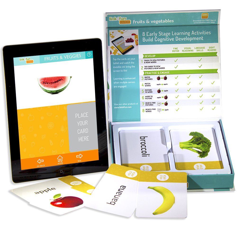 Stages Learning Materials Link4Fun Fruits Vegetables Flashcards for iPad Preschool Language Builder Cards for Vocabulary Reading Autism Education