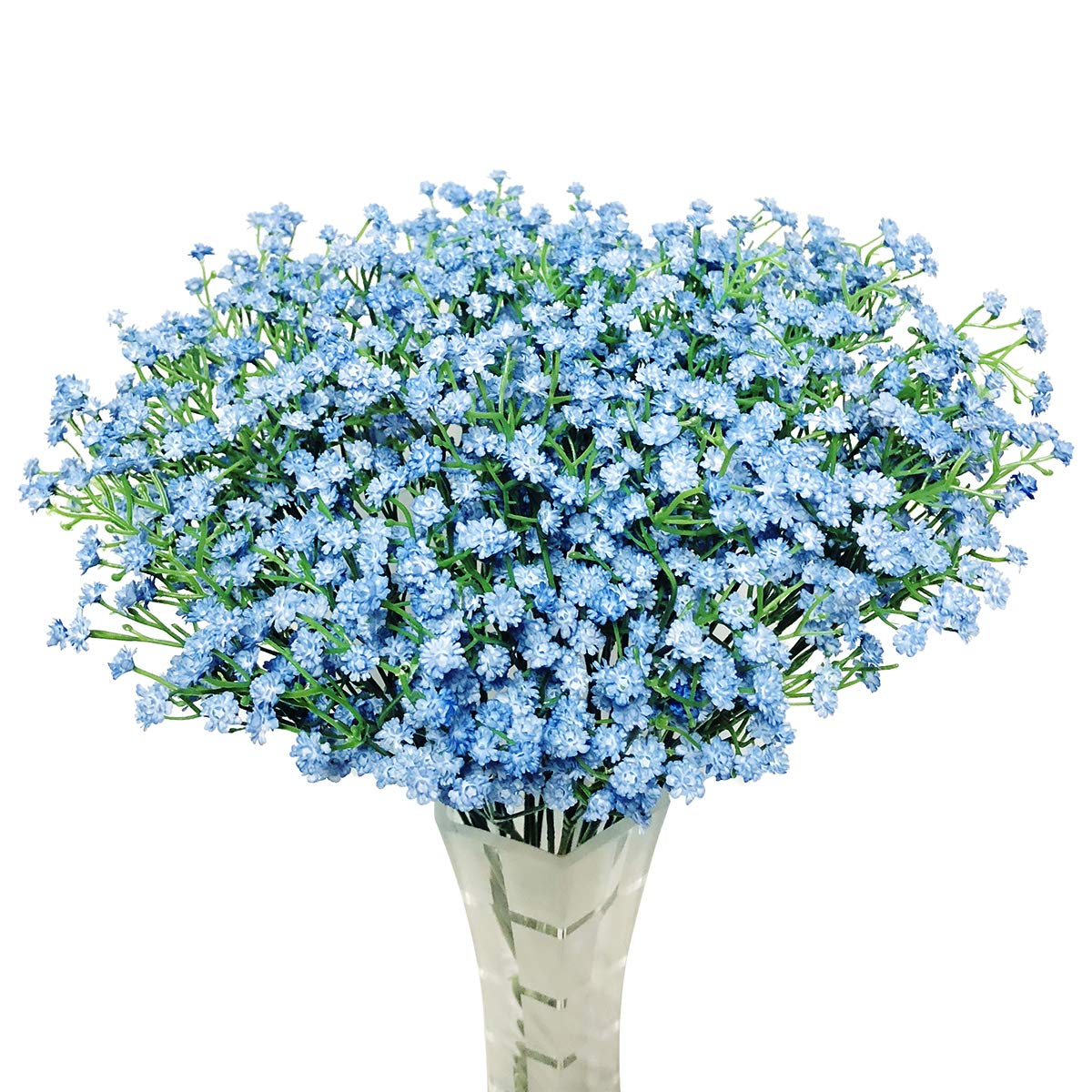 "HANTAJANSS 12 pcs Baby Breath Gypsophila Artificial Flowers Bouquets Fake Real Touch Flowers for Wedding Party Decoration DIY Home Decor 21"" Blue"