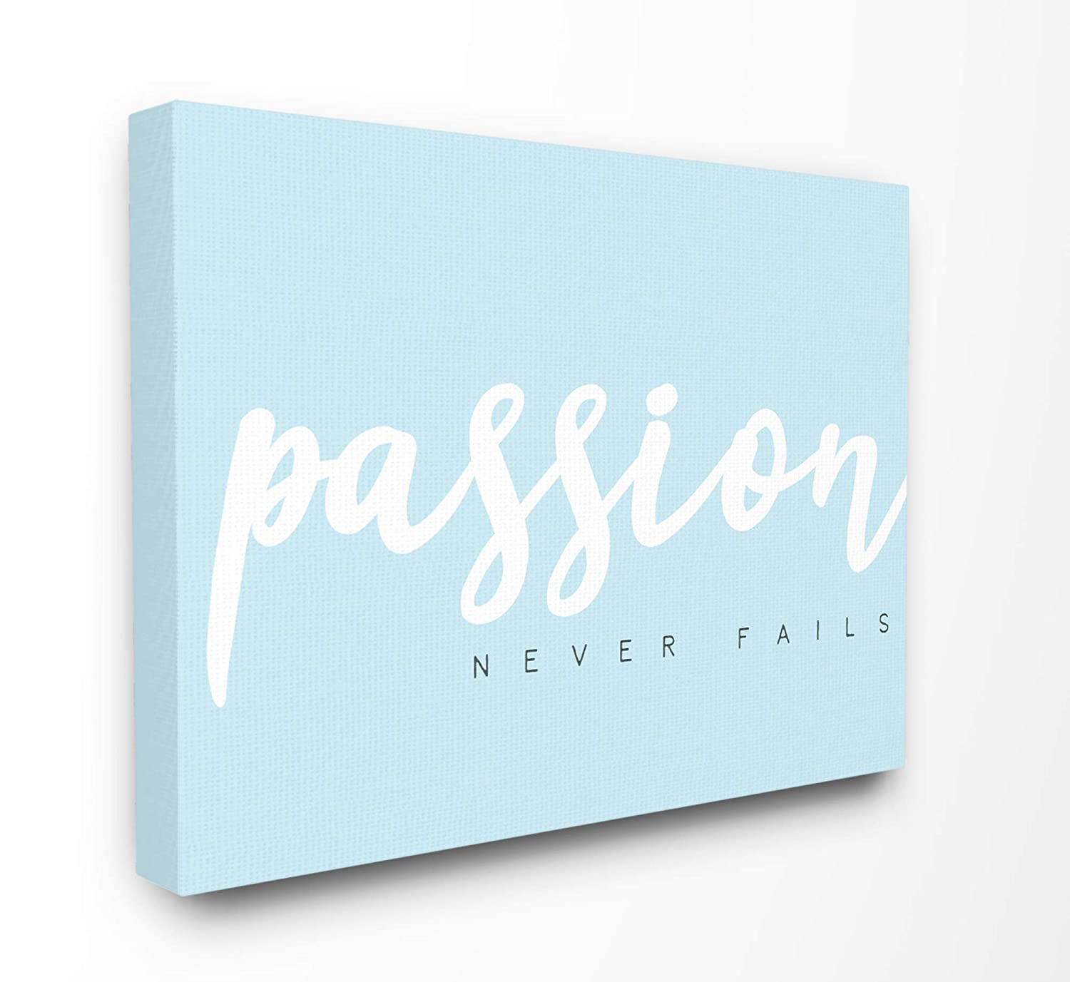 The Stupell Home Decor Passion Never Fails White on Light Blue Typography Wall Plaque Art, 10 x 15, Multi-Color