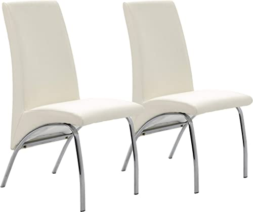 Ophelia Dining Chairs White and Chrome Set of 2