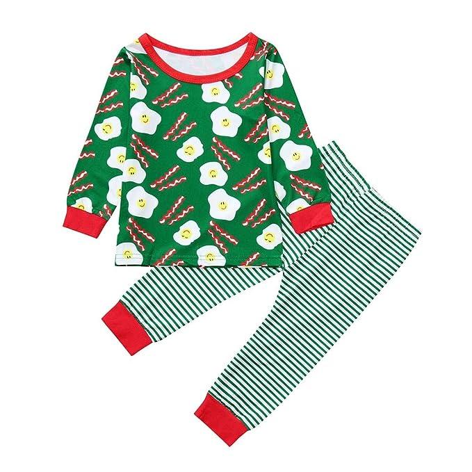 K-youth Ropa Bebe Niño Invierno 2018 Ofertas Navidad Infantil Bebé Niña Sudaderas Manga Larga Pijama Rayas Camisetas Blusas Top + Pantalones Largos ...