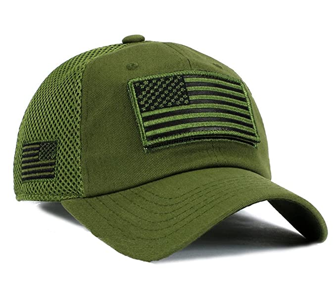 USA Flag Hat OD Green Detachable Patch Micro Mesh Tactical Cap at ... aaf3f8fe6a2