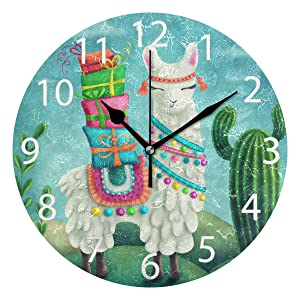 senya Cute Llama Round Wall Clock, Silent Non Ticking Oil Painting Decorative for Home Office School Clock Art