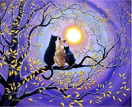 GAGALAM Pintura por Numeros Adultos Tres Gatitos En Una Rama ...