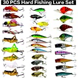 XBLACK Hard Fishing Lure Set 43pcs Assorted Bass Fishing Lure Kit Colorful Minnow Popper Crank Rattlin VIB Jointed Fishing Lure Set Hard Crankbait Tackle Pack for Saltwater or Freshwater
