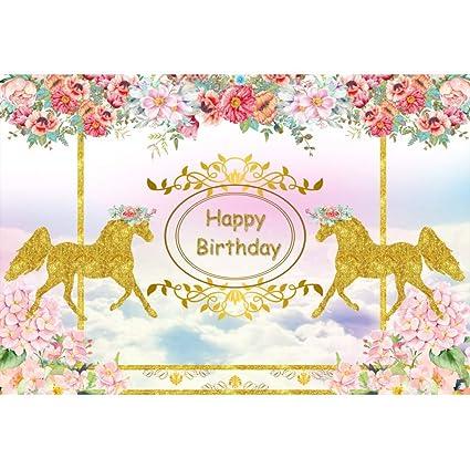 Cassisy 1,5x1m Vinilo Cumpleaños Telon de Fondo Feliz cumpleaños Carrusel Caballo de Oro Decoracion De Flores Cielo Soleado Fondos para Fotografia ...