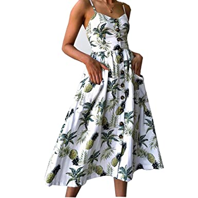 a9e84ce61be ilovgirl New Dresses for Women with White Spaghetti Strap Pineapple Print  Button Placket Midic Casual Summer Beach Dress with Pockets  Amazon.co.uk   ...