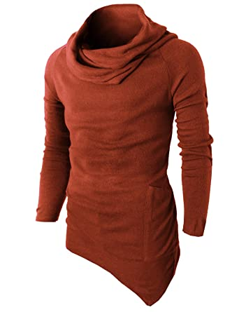 H2H Men s Casual Long Sleeve O Neck Solid Loose Pleated Pullover T-Shirt  DARKORAGNE US 2fda0991b