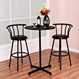 COSTWAY 3 Piece Bar Table Set with 2 Stools